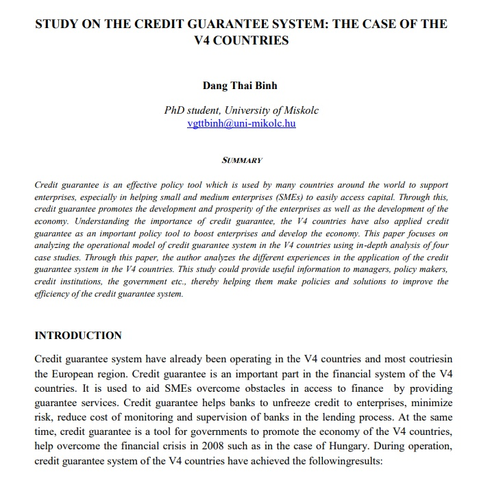 Study on the credit guarantee system: The case of V4 countries - ISBN 978-963-358-100-1