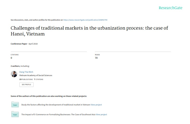 Challenges of traditional markets in the urbanization process: the case of Hanoi, Vietnam -
