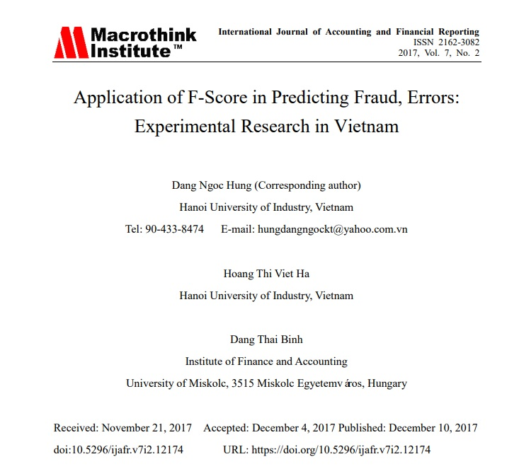 Application of F-Score in Predicting Fraud, Errors: Experimental Research in Vietnam - ISSN 2162 3082